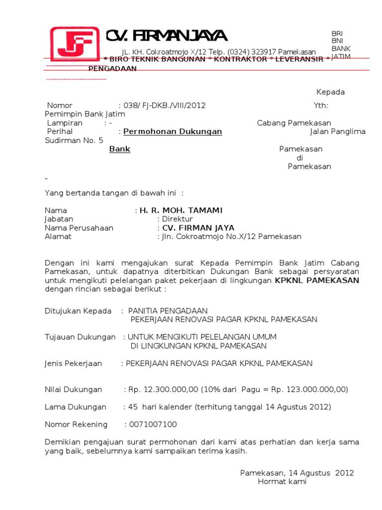 Surat Permohonan Dukungan Bank