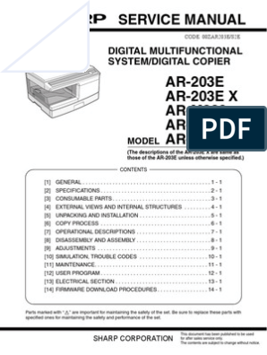 AR M201 Service manual | Image Scanner | Photocopier