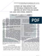 INVESTIGATION OF THE EFFECT OF CURRENT ON TENSILE STRENGTH AND NUGGET DIAMETER OF SPOT WELDS MADE ON AISI-1008 STEEL SHEETS