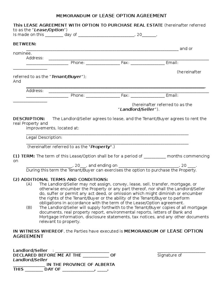 Memorandum Of Lease Option Agreement