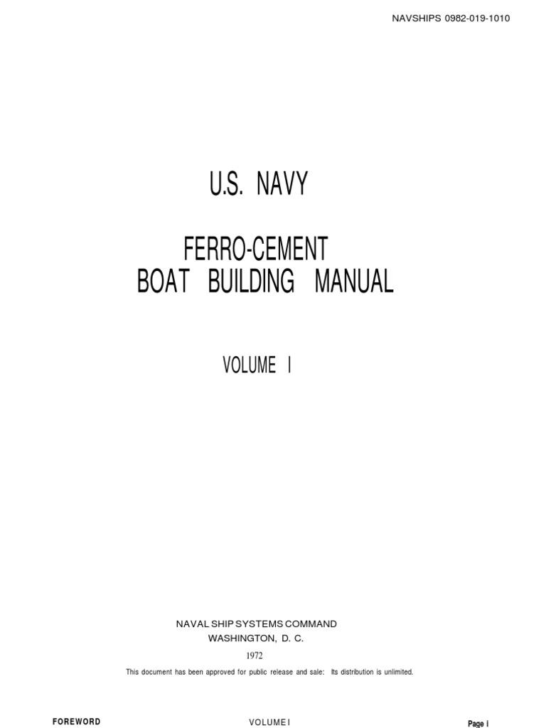 U.S. Navy Ferro - Cement Boat Building Manual Volume 1 | Deck (Ship) |  Framing (Construction)