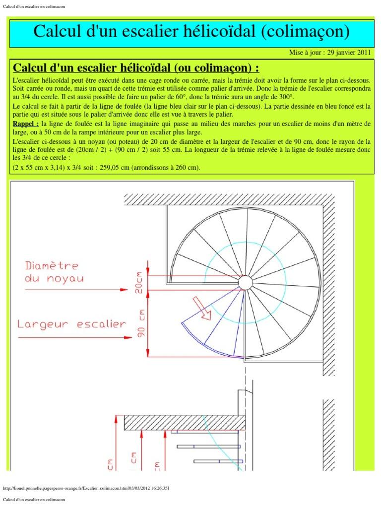 Souvent Calcul d'Un Escalier en Colimacon UQ82