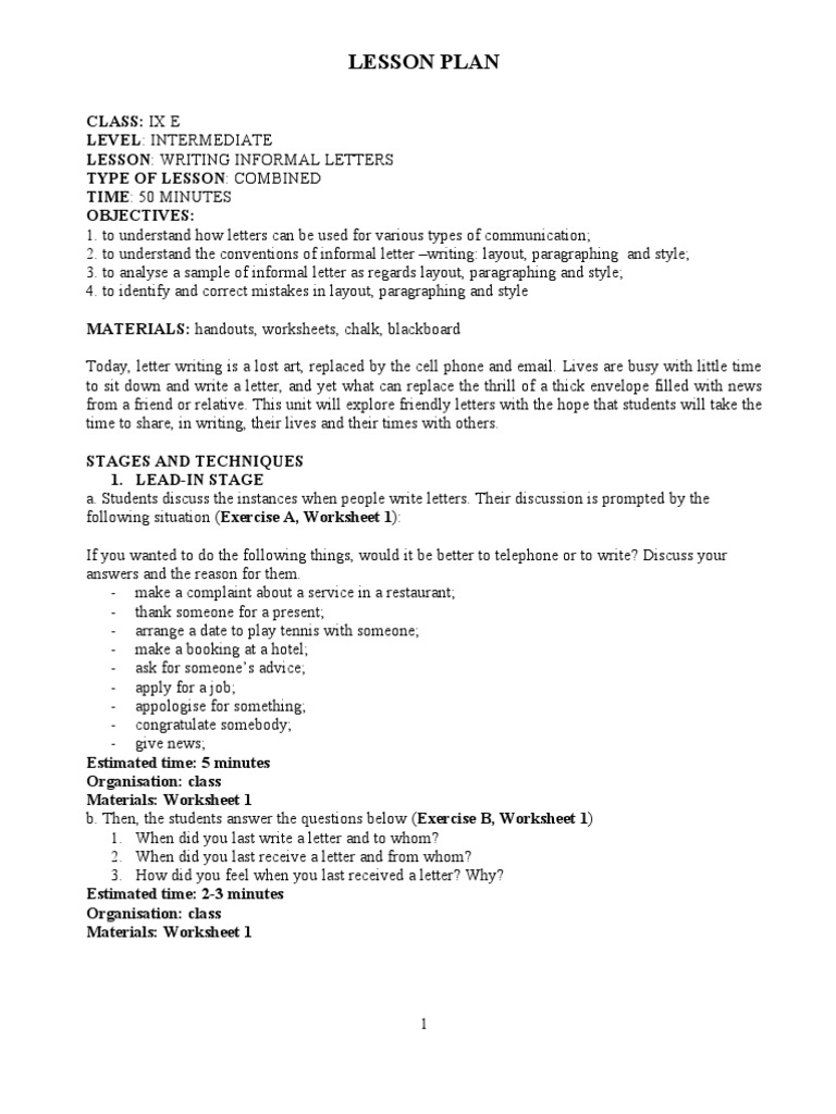 Writing informal letters paragraph lesson plan expocarfo