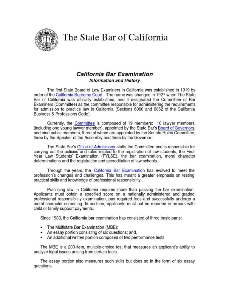 Bar Exam Info History | State Bar of California (Colegio de