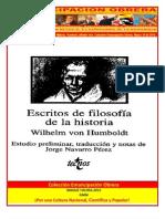 Libro No. 392. Escritos de Filosofía de la Historia. Humbold, wilhelm Von. Colección Emancipación Obrera. Marzo 16 de 2013