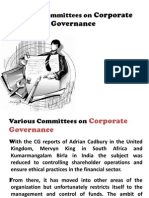 Various Committees on Corporate Governance