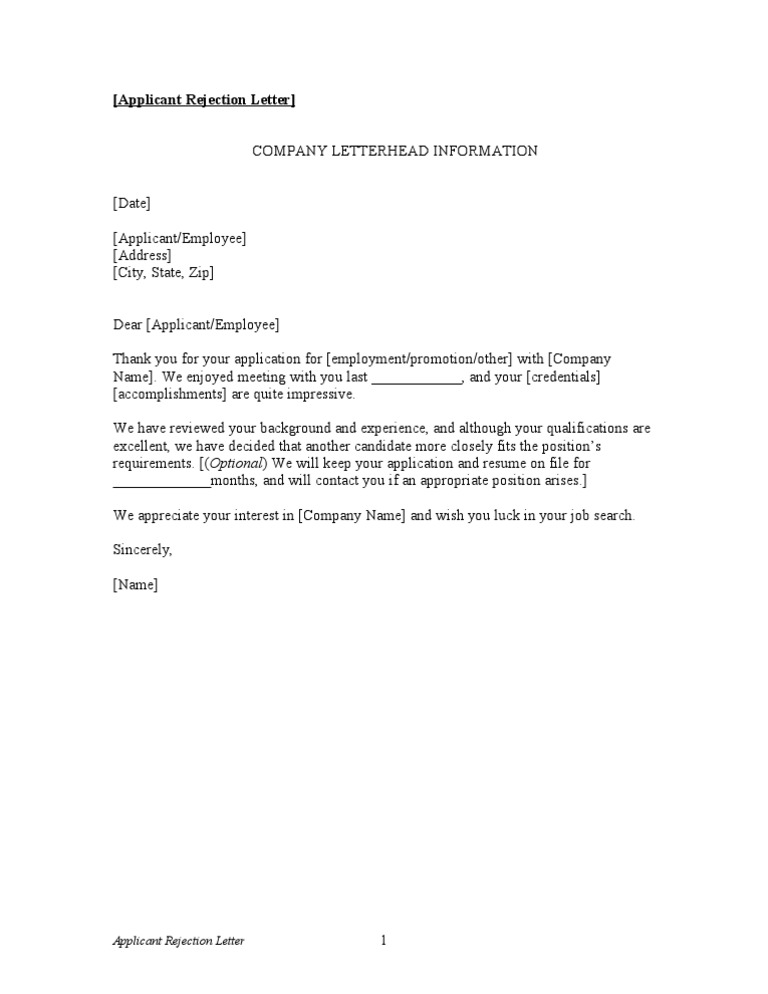 Rejection Letter To Applicant from imgv2-2-f.scribdassets.com