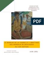 Le marché de la viande et l'abattage des animaux de boucherie au Cap-Haïtien (1991)