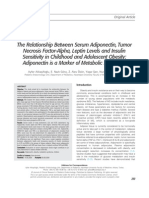 The Relationship Between Serum Adiponectin, Tumor Necrosis Factor−Alpha, Leptin Levels and Insulin Sensitivity in Childhood and Adolescent Obesity  Adiponectin is a Marker of Metabolic Syndrome