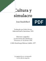 Baudrillard Jean - Cultura Y Simulacro