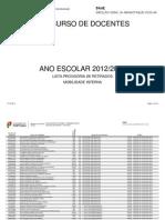 Listas provisórias de candidatos repescados 2012-2013