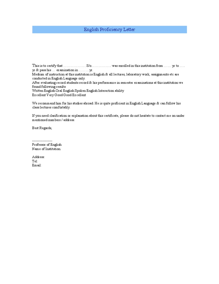 English Proficiency Letter