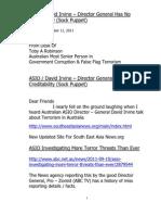 ASIO  David Irvine – Director General Has No Creditability