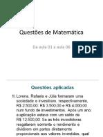 Questões de Matemática aulas de 01 a 06