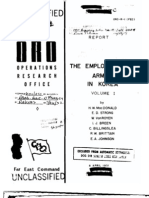 Employment of Armor in Korea Vol 1 Operations Research Study