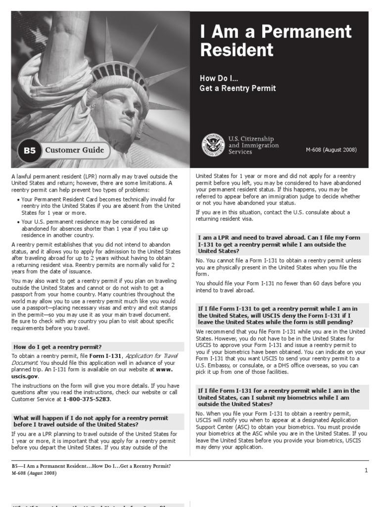 B5en Permanent Residence United States Travel Visa