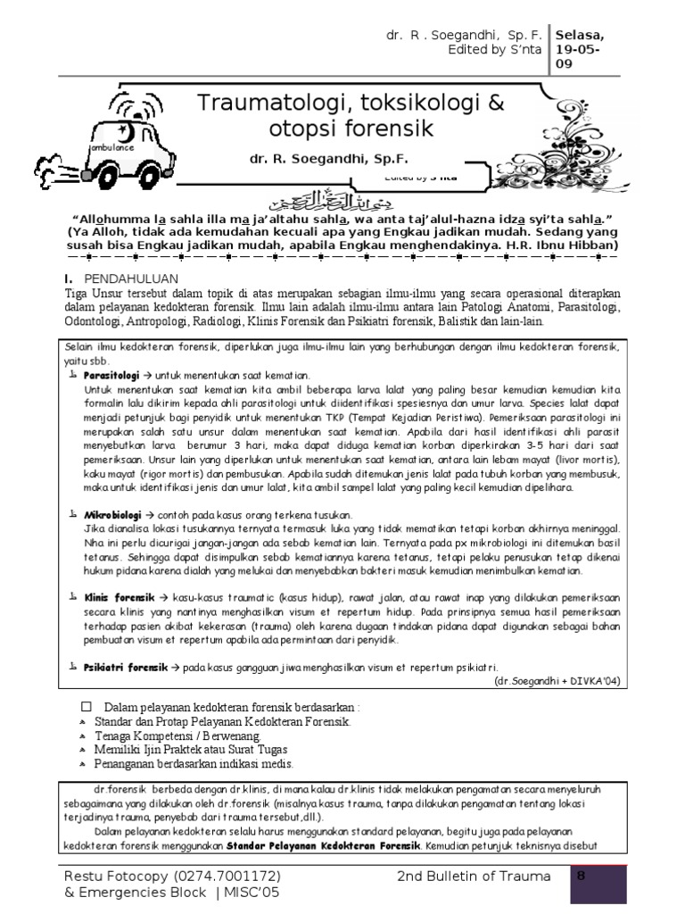 Traumatologitoksikologi Otopsi Forensik Fix
