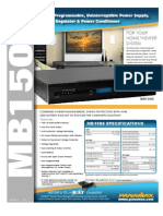 Panamax MB1500 Programmable UPS Power Supply Voltage Regulator Power Conditioner Spec Sheet
