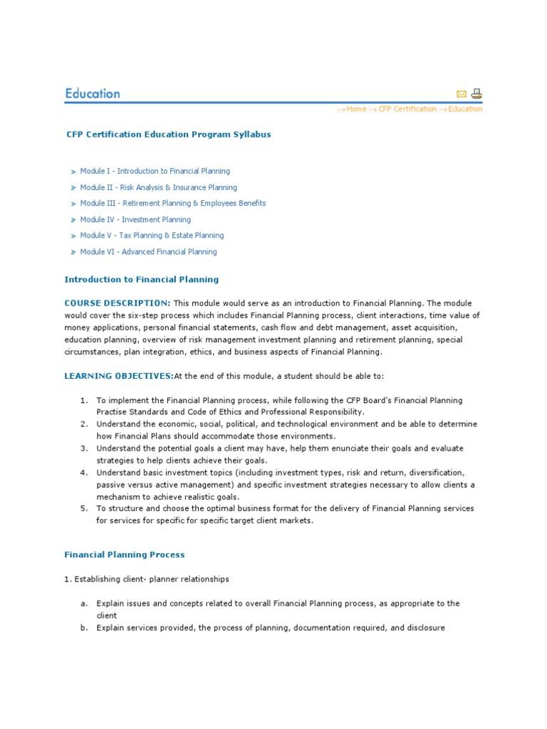 Cfp Course Insurance Pension