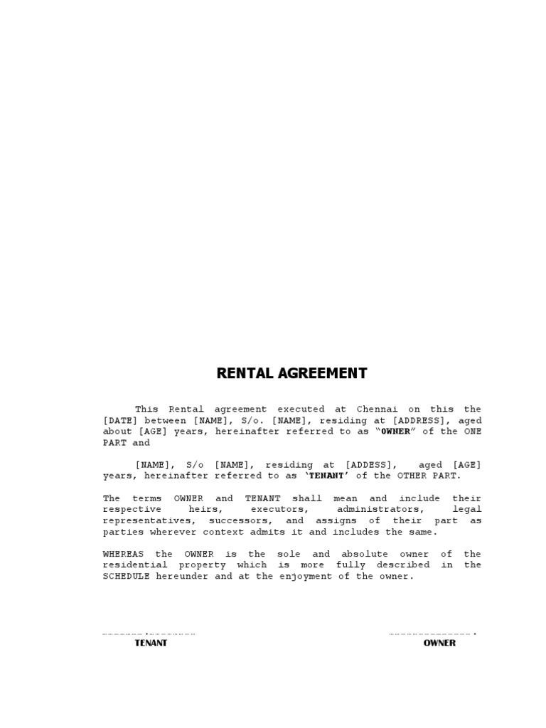 rent agreement sample doc