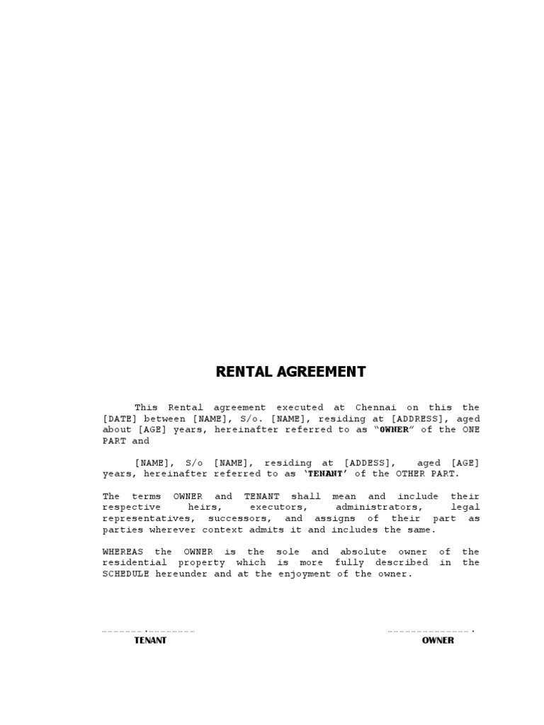House Rent Agreement Format