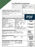 Formulario de registro embarazada y recién nacido 2012