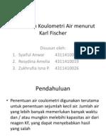 Penentuan Koulometri Air Menurut Karl Fischer