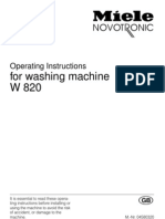 Operating Instructions Miele W820 Eng