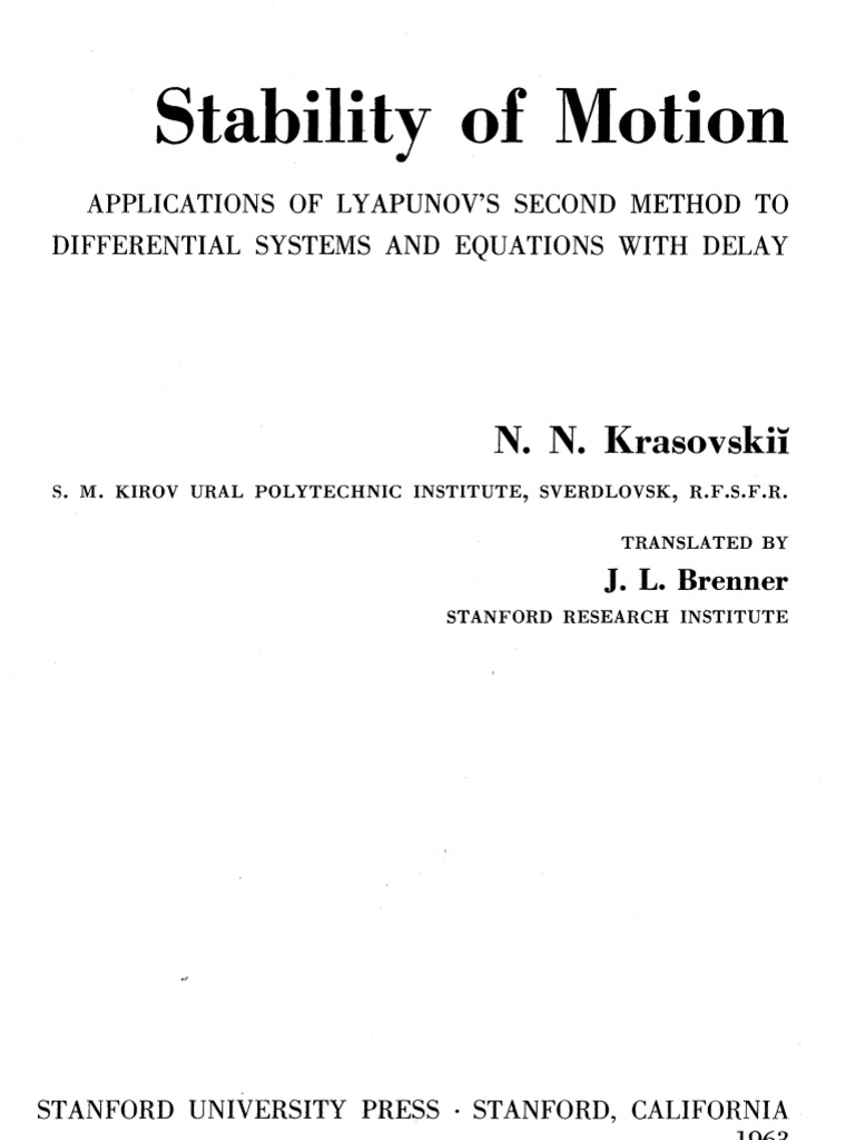 Stability Theory by Liapunovs Second Method
