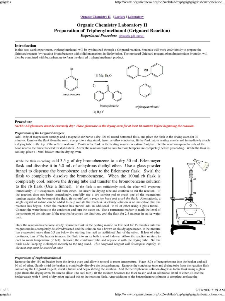 grignard reaction synthesis of triphenylmethanol lab report