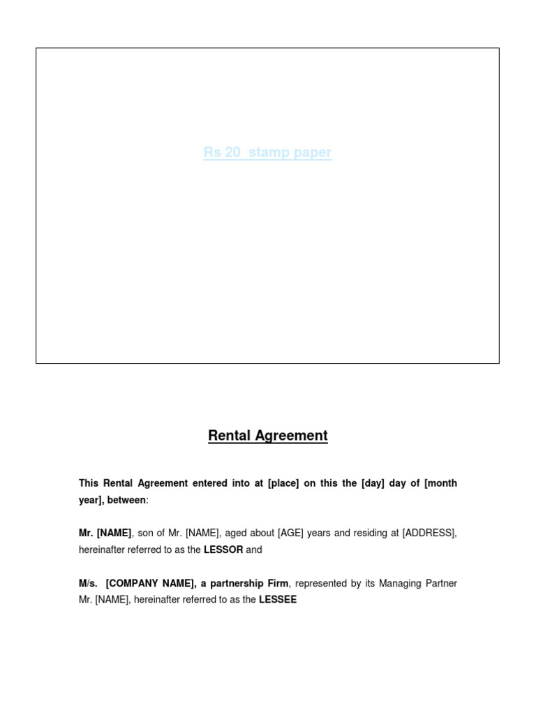 Rental Agreement Format For Partnership Firmcx