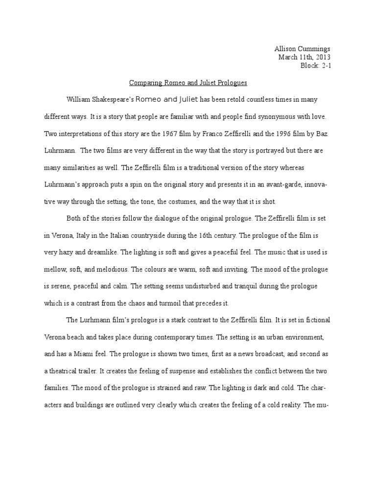essay on romeo