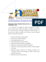 requisitos para solicitar reválida en ula mérida venezuela