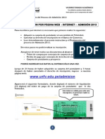 GUÍA DE INSCRIPCIÓN POR PÁGINA WEB - INTERNET – ADMISIÓN 2013