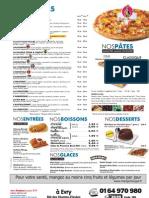Carte des pizzas Dominos