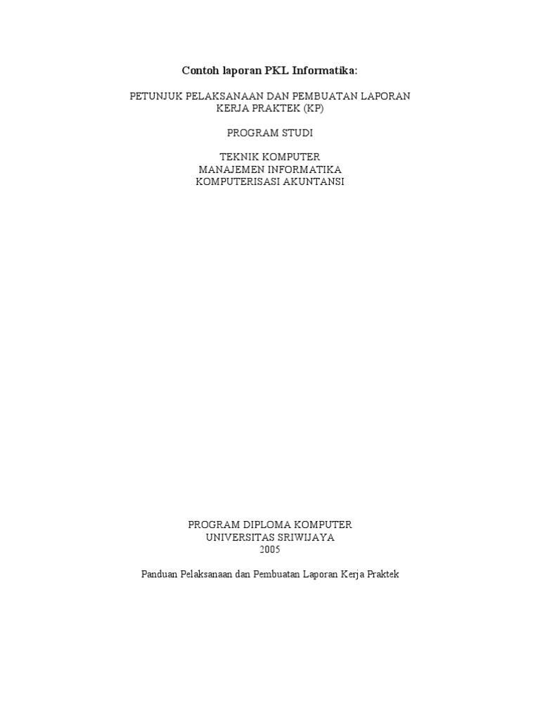 Contoh Laporan Pkl Informatika