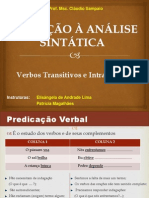 Trabalho  - ANÁLISE SINTÁTICA_ Verbo Transitivo e Intransitivo