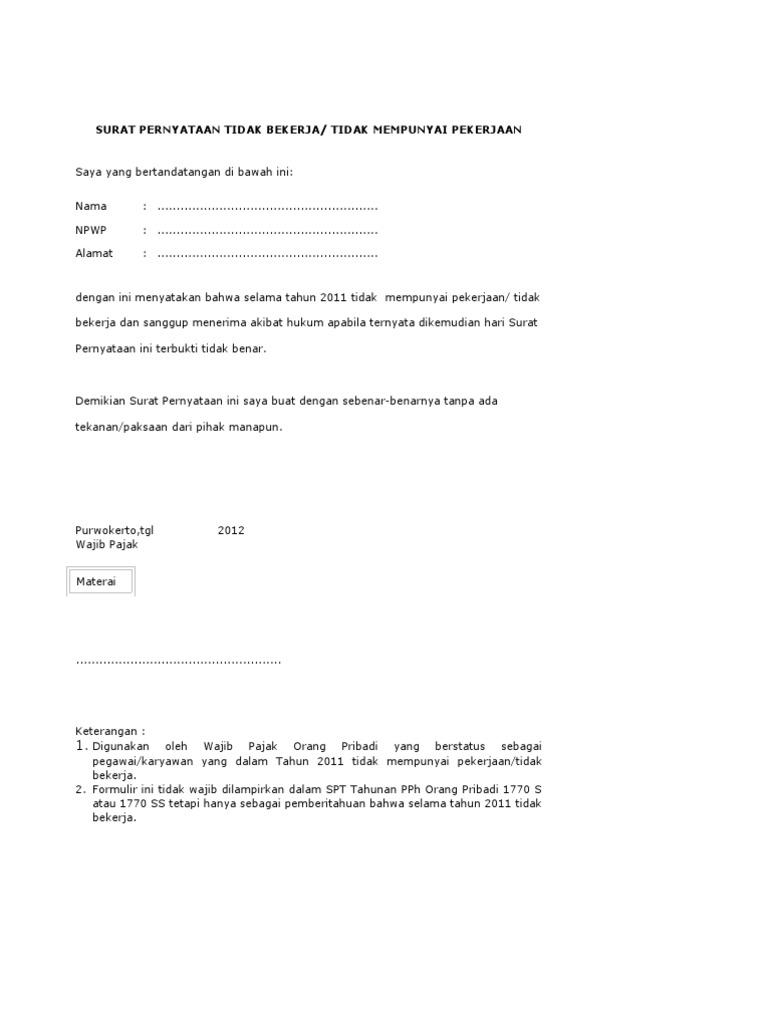 Contoh Surat Pernyataan Nihil Pajak Kimcil I