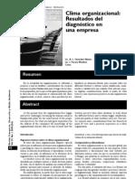 GONZÁLEZ y PARERA (2005) Clima Organizacional. Resultado del diagnóstico en una empresa