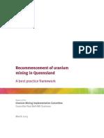 Recommencement of uranium mining in Queensland
