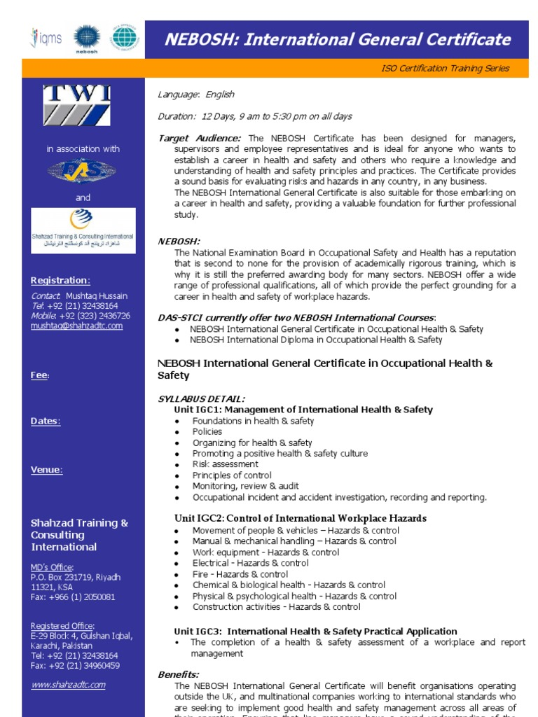 Nebosh International General Certificate Occupational Safety And