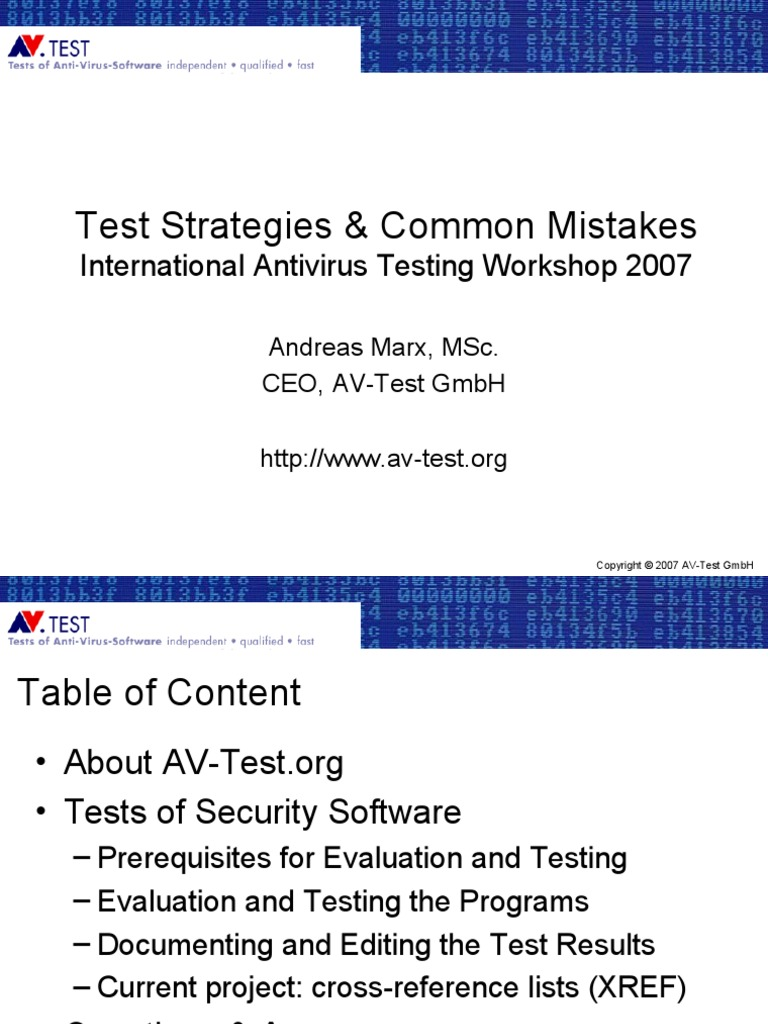 Test Strategies & Common Mistakes | Malware | Antivirus Software