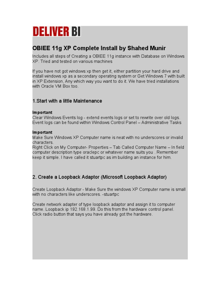 OBIEE 11g Complete Installation on Windows XP | Oracle