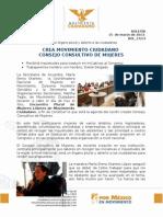 CREA MOVIMIENTO CIUDADANO CONSEJO CONSULTIVO DE MUJERES