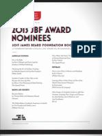 2013 James Beard Foundation Nominees