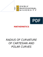radius of curvature of cartesian nd polar curves