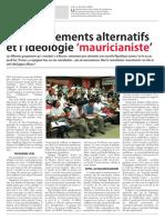 Les mouvements alternatifs et l'ideologie mauricianiste (Partie 1)