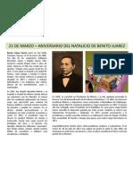 21 de marzo - Aniversario del natalicio de Benito Juarez