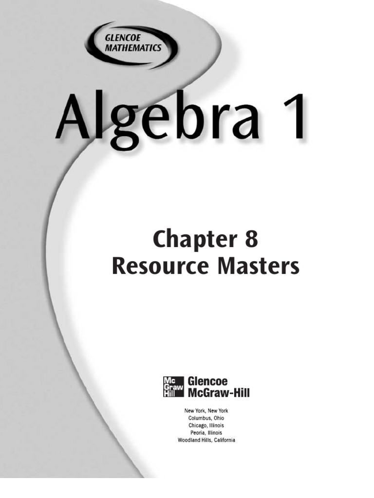 worksheet Glencoe Mcgraw Hill Algebra 1 Answers Worksheets glenco algebra 1 chapter educational assessment equations 8 1studyguide