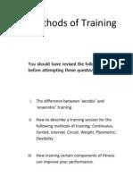 Methods of training Guidance Sheet
